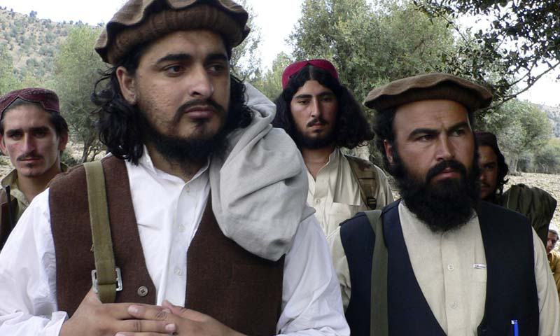 In this Oct. 4, 2009 file photo, Pakistani Taliban chief Hakimullah Mehsud, left, is seen with his comrade Waliur Rehman during his meeting with media in Sararogha. — Photo AP
