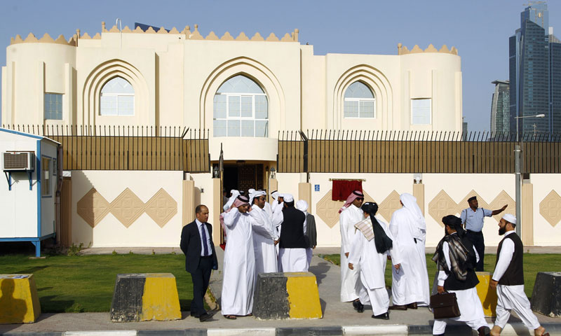 Guests arrive for the opening ceremony of the new Taliban political office in Doha on June 18, 2013. - Photo by AFP