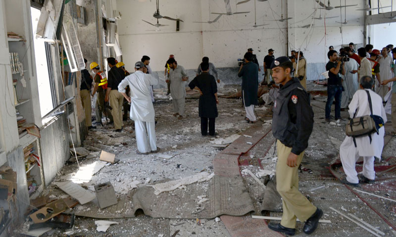 Photograph shows the extent of damage to the mosque Peshawar after a deadly suicide bombing killed at least 14 worshippers on June 21, 2013.—Photo by Zahir Shah Sherazi