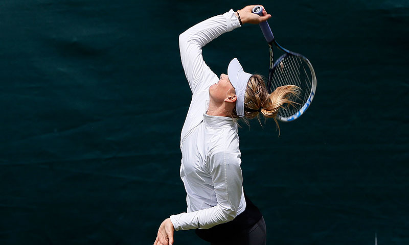Maria Sharapova of Russia serves during a practice session. -Photo by Reuters