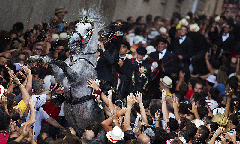 A horse rears in a crowd during a horse parade of the traditional San Juan (Saint John) festival in the town of Ciutadella, on the Balearic Island of Menorca, on the eve of Saint John's day.—Photo by AFP