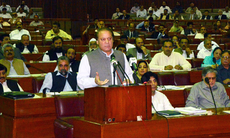Prime Minister Nawaz Sharif addresses the Parliament in Islamabad on June 24, 2013. – AFP