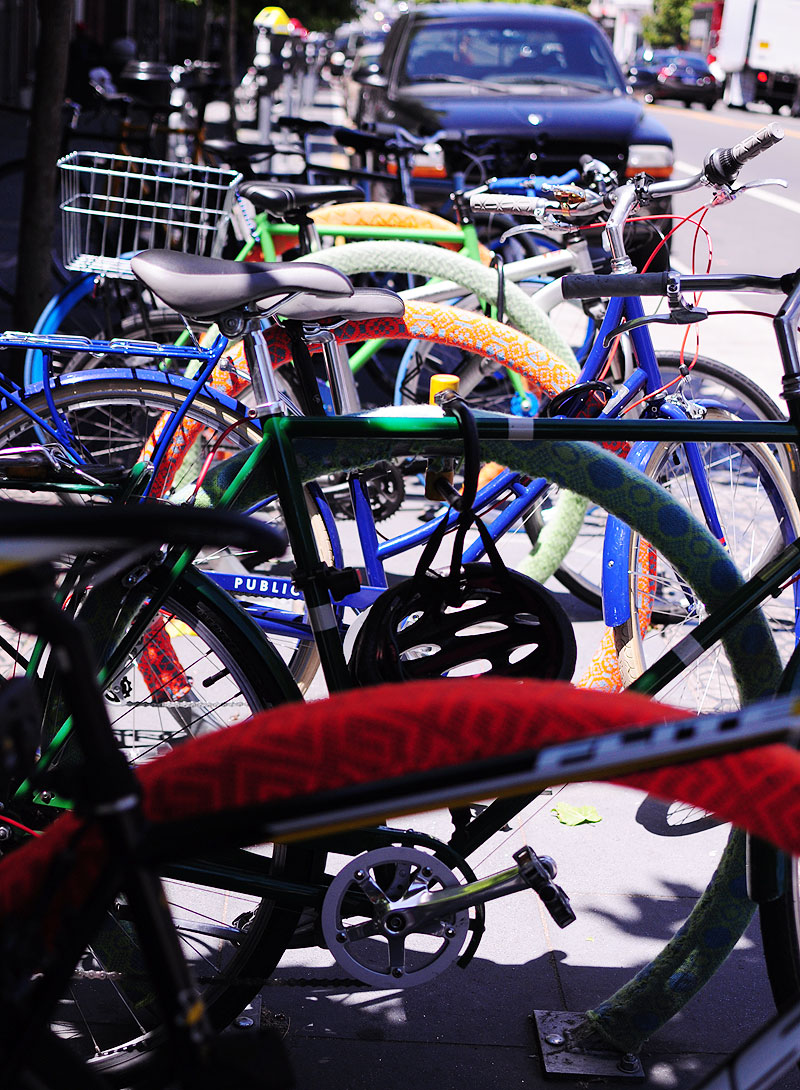 Biking racks -- art and colour at play.