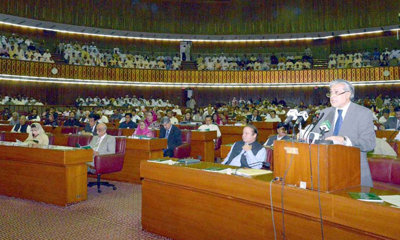 The Rs 3.985 trillion outlay Finance Bill 2013-14 was passed with a majority vote, albeit without incorporating any amendments from the opposition.—File Photo