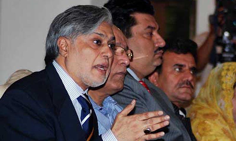 PML (N) Leader Ishaq Dar addressing a press conference at Punjab House. — ONLINE PHOTO