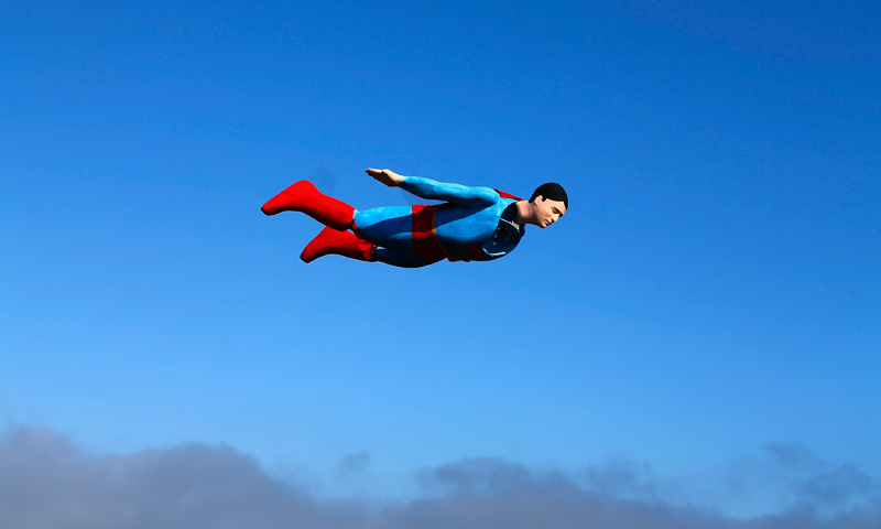 Life size superman plane on a test flight home dawn otto and business partner ed hanley are a small start up company that creates flying radio controlled planes designed in the form of people characters and publicscrutiny Gallery