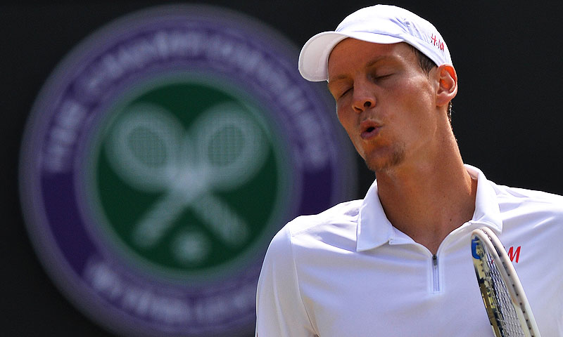 Czech Republic's Tomas Berdych reacts during his third round men's singles match against South Africa's Kevin Anderson. -Photo by AFP