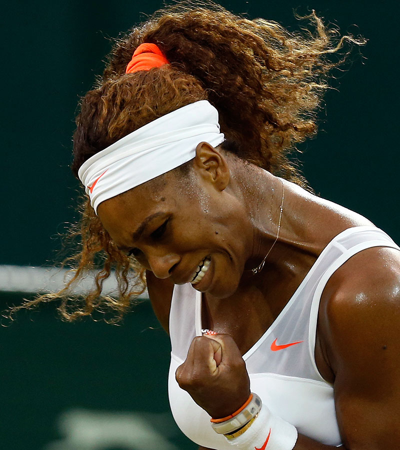 Serena Williams of the United States reacts after winning a point against Kimiko Date-Krumm of Japan. -Photo by AP