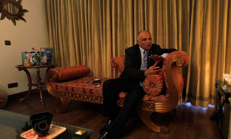 Majyd Aziz Balagamwala, ex-president Karachi Chamber of Commerce and Industries (KCCI), gestures during an interview at his residence in Karachi June 14, 2013. — Photo by Reuters