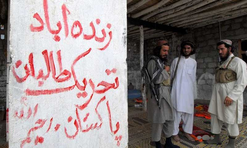 """Armed militants of Tehrik-i-Taliban Pakistan stand next to a graffiti which read as """"Long Live Tehrik-i-Taliban Pakistan"""" at a camp in a Pakistani tribal district. — Photo by AFP"""