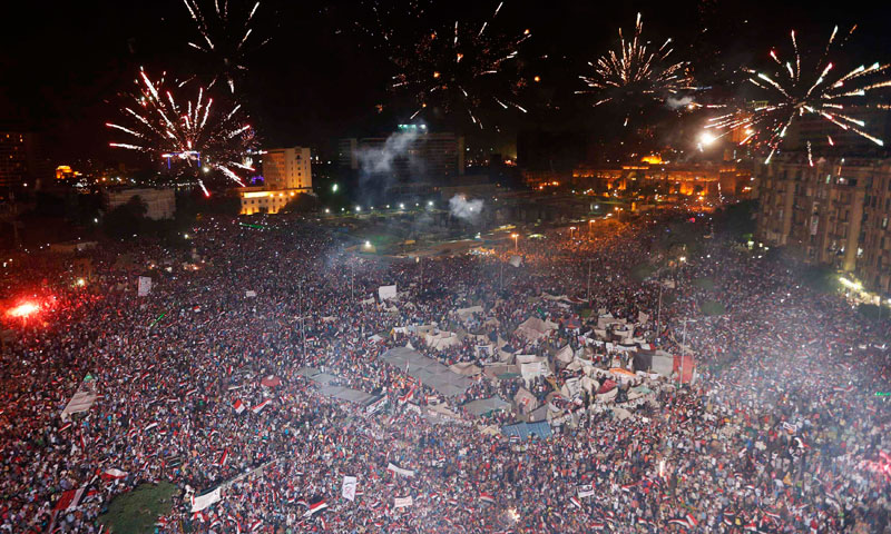 Protesters, who are against Egyptian President Mohamed Mursi, set-off fireworks as they gather in Tahrir Square in Cairo July 3, 2013. – Reuters Photo