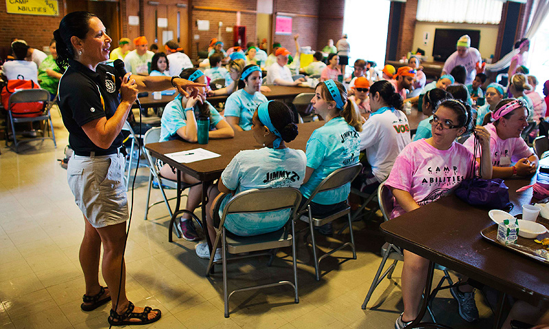 Dr. Lauren Lieberman, the director of Camp Abilities, speaks to the camp participants in Brockport, New York.