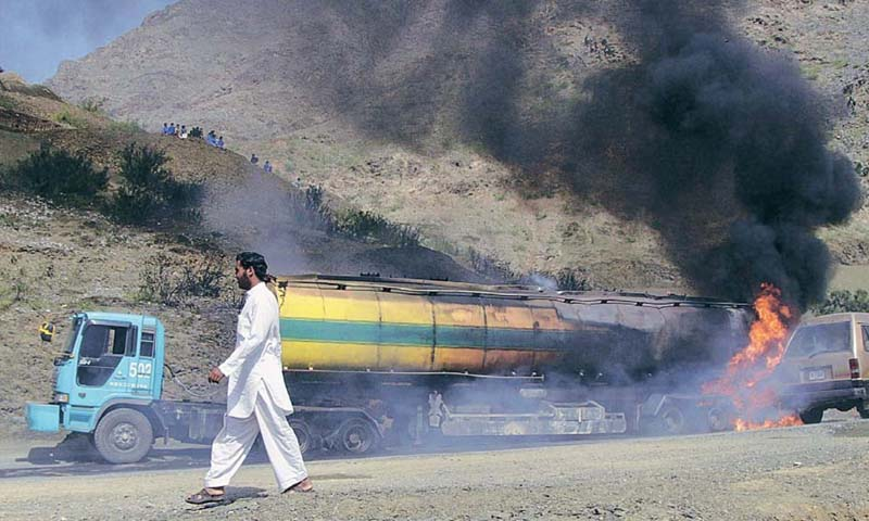 A view of a tanker set on fire by unknown persons.  — File Photo by Reuters