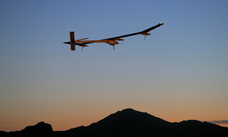 This May 22, 2013 file photo shows the Solar Impulse, piloted by André Borschberg, taking flight, at dawn, from Sky Harbor International Airport in Phoenix. The spindly no-fuel plane called Solar Impulse is scheduled to leave Washington Saturday early in the morning and arrive after midnight at New York's John F. Kennedy International Airport. It may silently buzz the Statue of Liberty on the way. The plane started its cross-country journey May 3 from San Francisco.  — AP (File Photo)