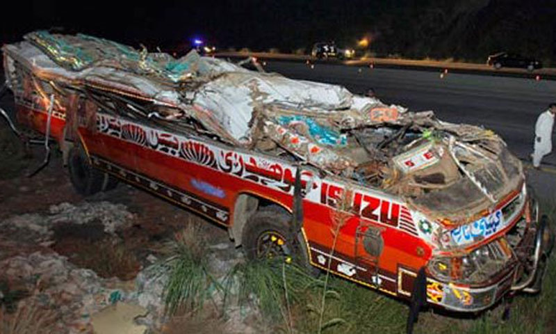 Passenger bus overturns near Dadu; 12 killed