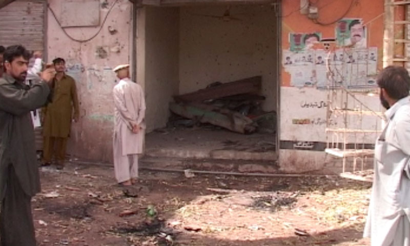 Photo shows the damage from the blast on July 11, 2013.—Photo by Zahir Shah Sherazi