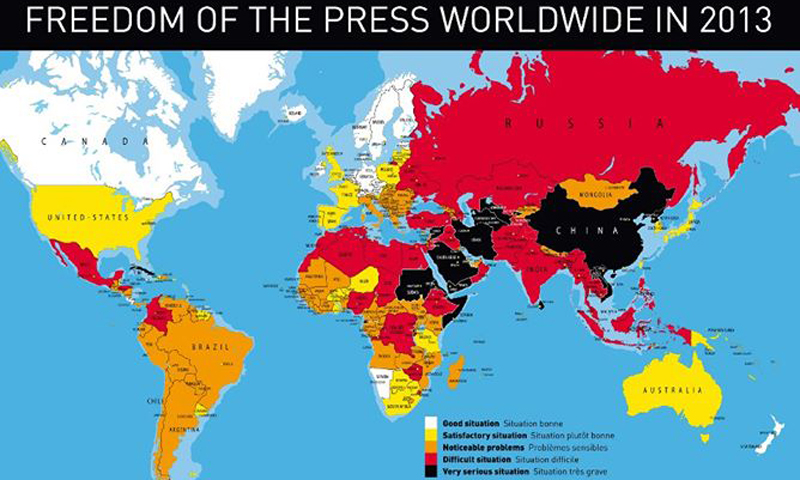 Picture shows a cross-section analysis of media freedom over the world.  — Reuters Photo