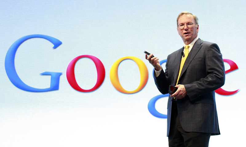 Google Chairman Eric Schmidt speaks at a Motorola phone launch event in New York, in this September 5, 2012 photo. — Reuters (File Photo)