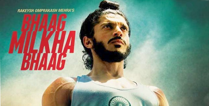 "Farhan Akhtar pictured in a movie poster of ""Bhaag Milkha Bhaag"" — Courtesy Photo"