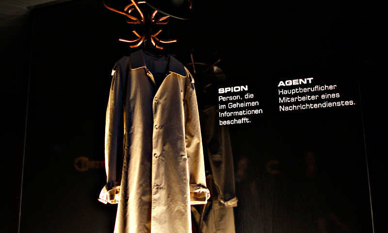 A coat, traditional symbol of espionage, is placed at the entrance of the 'Top Secret' Spy Museum.