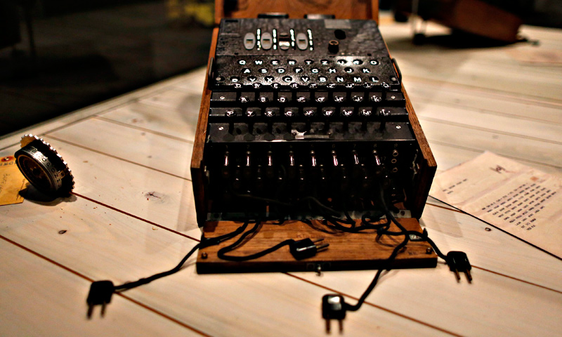 A World War II German Enigma cipher machine is on display at the 'Top Secret' Spy Museum in Oberhausen.