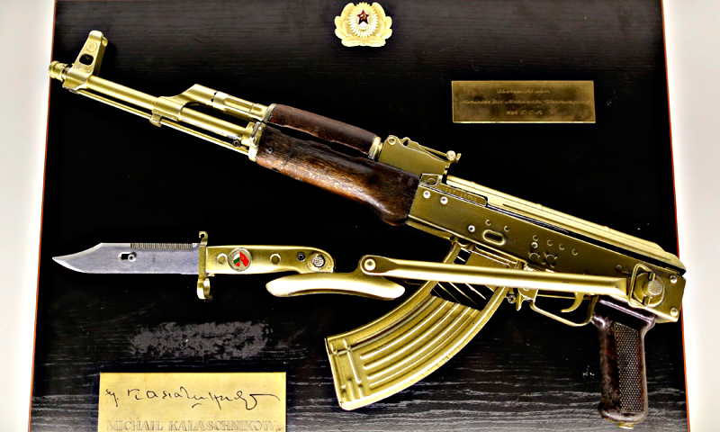 A gold plated Kalashnikov is seen on display at the 'Top Secret' Spy Museum in Oberhausen.
