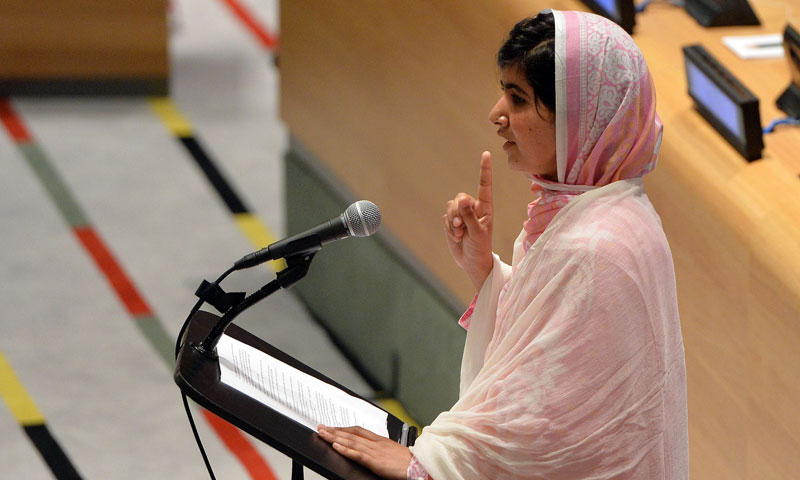 Pakistani student Malala Yousafzai speaks before the United Nations Youth Assembly July 12, 2013 at UN headquarters in New York. – AFP Photo