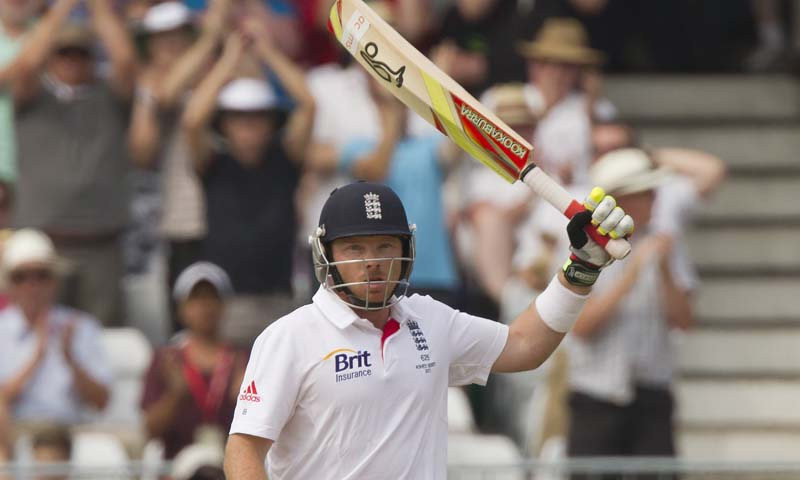 England's Ian Bell raises his bat as he reaches 50 on the third day of the opening Ashes series cricket match against Australia at Trent Bridge cricket ground, Nottingham, England, Friday, July 12, 2013.    — Photo by AP