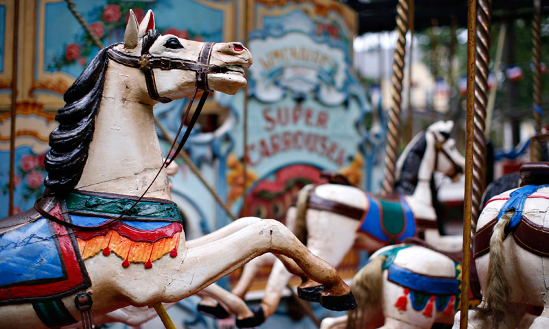 "The ""Great Horse Carousel"" from 1890 is seen during a media preview of ""Fete Paradiso"". — Reuters Photo"