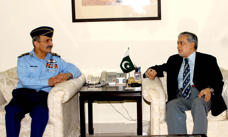 Federal Minister for Finance, Senator Muhammad Ishaq Dar meeting with Air Chief Marshall, Tahir Rafique Butt.—Online Photo