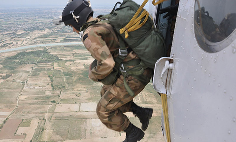 After three weeks' basic airborne training, which included exit, flight and landing techniques, the new paratroopers completed their first jump on Sunday. - ISPR photo