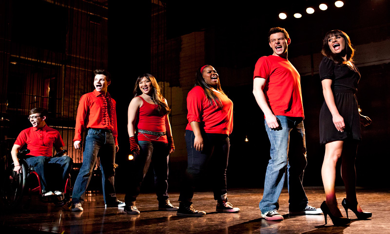 "Cast members, from left, Kevin McHale, Chris Colfer, Jenna Ushkowitz, Amber Riley, Cory Monteith and Lea Michele perform during a scene from ""Glee."" — AP Photo"