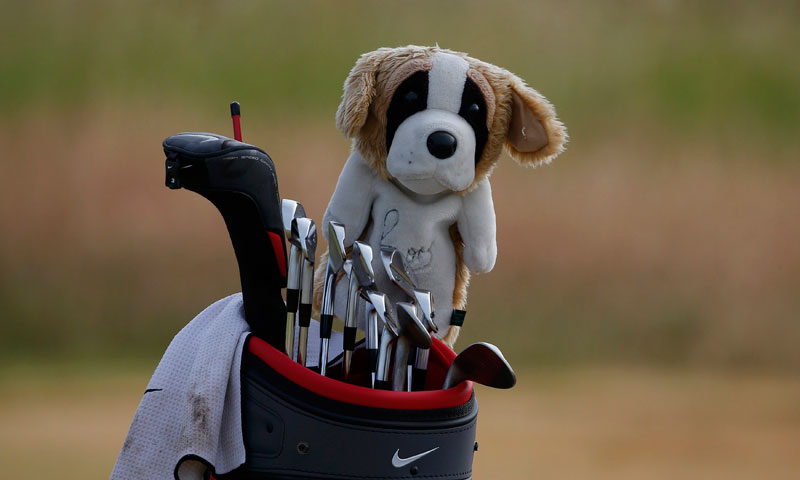 Rory McIlroy's golf bag stands on the eighth green.