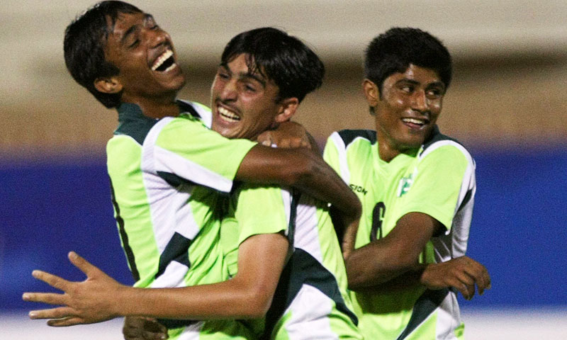 Pakistan players celebrate a goal against Maldives during their AFC U16 2012 qualifying match. -Photo by Reuters