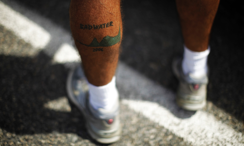 A man shows a Badwater tattoo during the Badwater Ultramarathon in Death Valley National Park, California.—Photo by Reuters