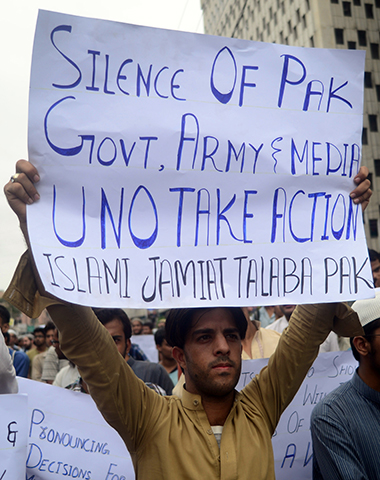 Some protesters urged action from the Pakistani government and military. — AFP Photo