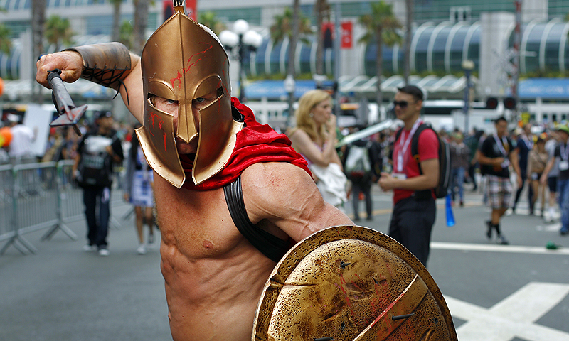 Todd Schmidt, dressed as a Spartan, poses for a photo Friday, July 19, 2013, during Comic-Con in San Diego.—Photo by AP