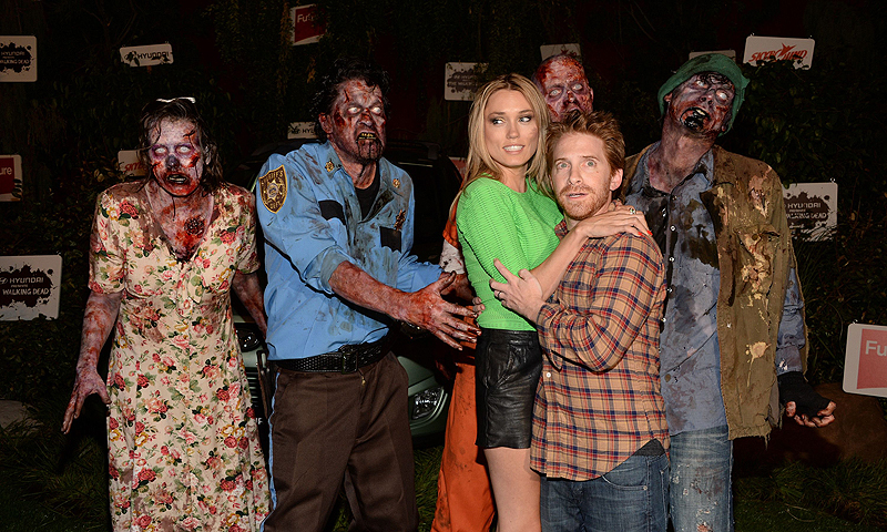 "Actors Clare Grant (third from left) and Seth Green (second from right) attend ""The Walking Dead"" 10th Anniversary Celebration Event during Comic-Con.—Photo by AFP"