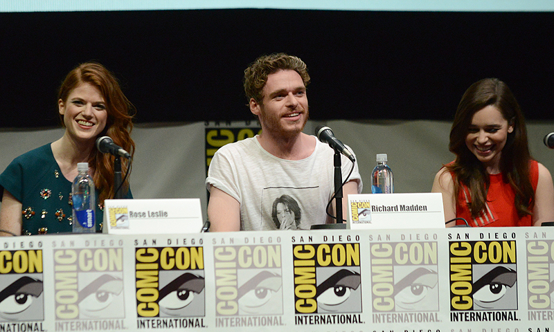 "From left, Rose Leslie, Richard Madden and Emilia Clarke participate in the ""Game of Thrones"" panel.—Photo by AP"