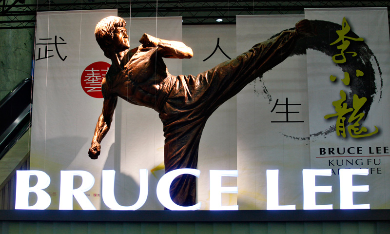"A statue of  pop culture icon Bruce Lee is displayed at his memorial exhibition ""Bruce Lee: Kung Fu, Art, Life""."