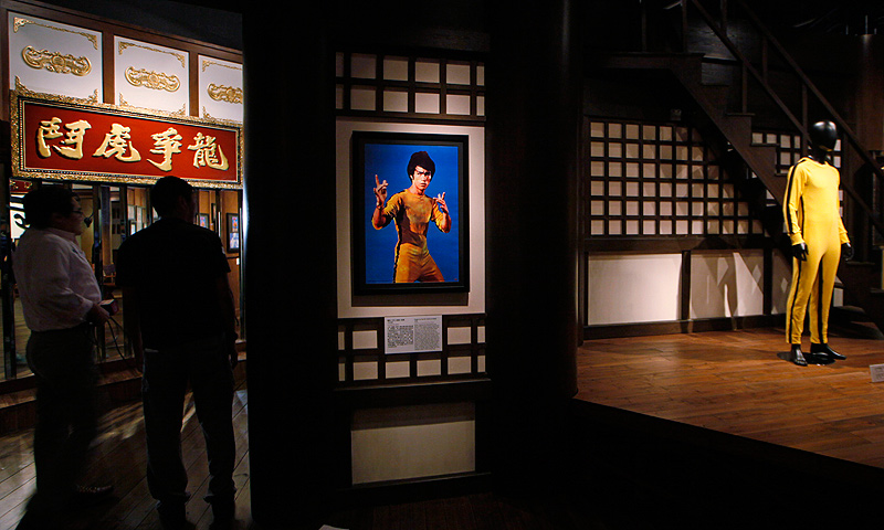Movie costume is displayed at the Lee's memorial exhibition.