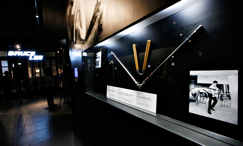 "Nunchaku used in the movie is displayed at the late Kung Fu star Bruce Lee's memorial exhibition ""Bruce Lee: Kung Fu, Art, Life""."