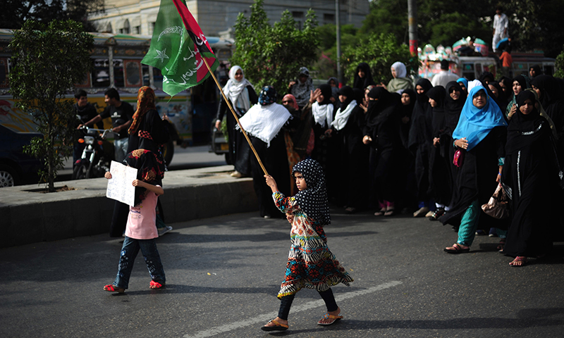 Shiite Muslim women protest in Karachi. — AFP Photo