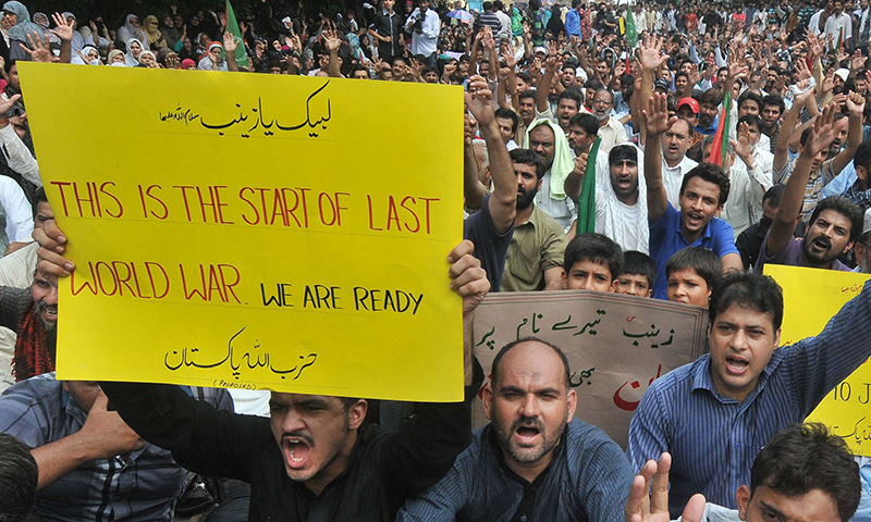 Some more extreme slogans sighted in Lahore. — AFP Photo