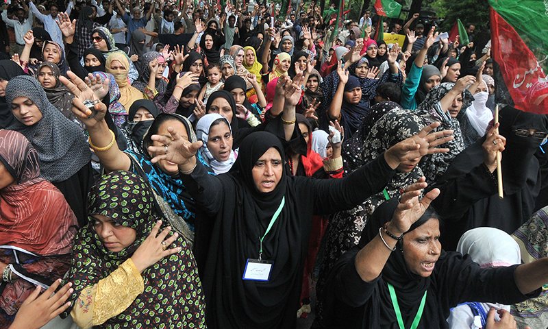 Women were protesting strongly in Lahore. — AFP Photo