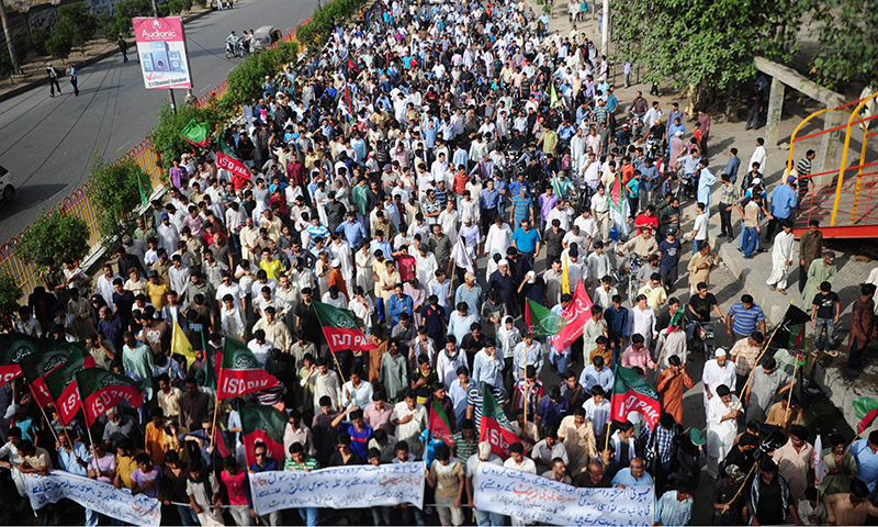 Crowds gathered in Karachi. — AFP Photo