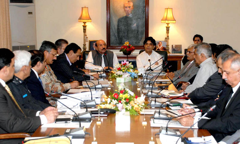 Interior Minister Chaudhry Nisar Ali Khan and Sindh chief minister Syed Qaim Ali Shah presiding over law and order meeting at CM House.—Photo by INP
