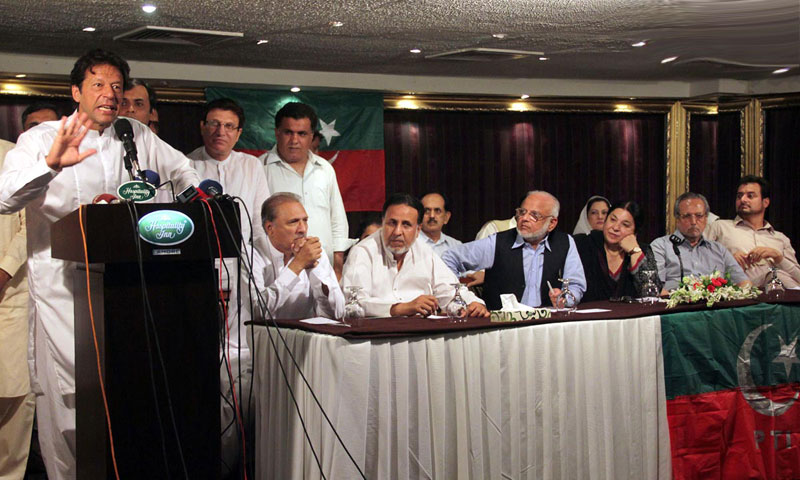 Chairman of Pakistan Tehrik-i-Insaaf Imran Khan addressing a press conference at a local hotel.—Online Photo