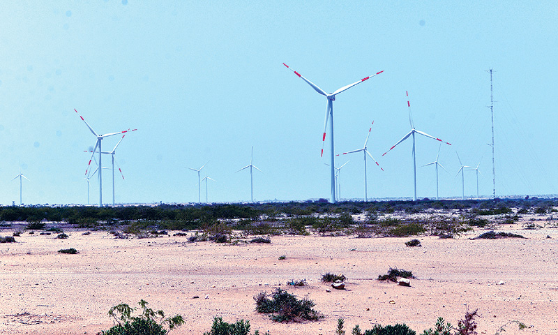 Some of the wind turbines installed at Jhimpir. -Fahim Siddiqi/White Star