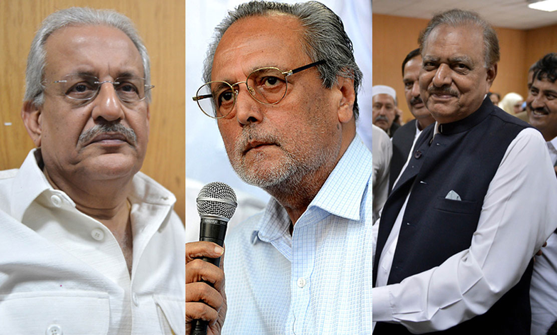 From left to right: Senator Raza Rabbani, who has boycotted the polls, Justice (retd) Wajihuddin, the PTI candidate, and Mamnoon Husain, the PML-N candidate. — File photo.